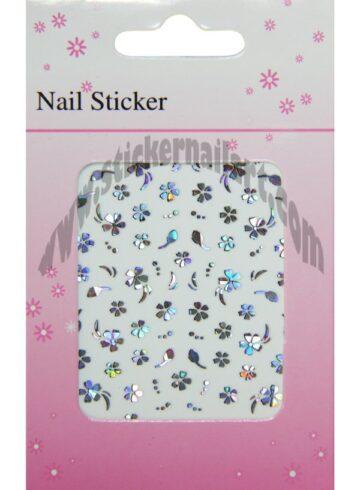 Stickers d'ongles fleurs reflets argent, pêle-mêle fleurs reflets argent
