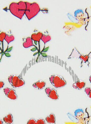 Stickers d'ongles cœurs et cupidons colorés
