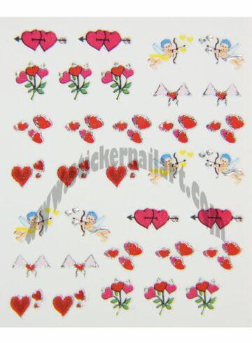Stickers d'ongles cœurs et cupidons colorés, pêle-mêle cœurs et cupidons colorés