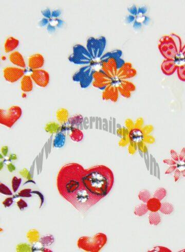 Stickers d'ongles cœurs fleurs et papillons colorés