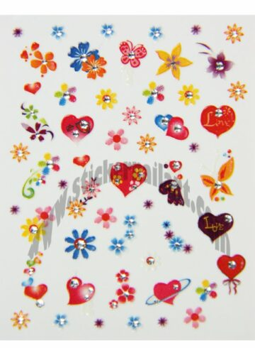 Stickers d'ongles cœurs fleurs et papillons colorés, pêle-mêle cœurs fleurs et papillons colorés