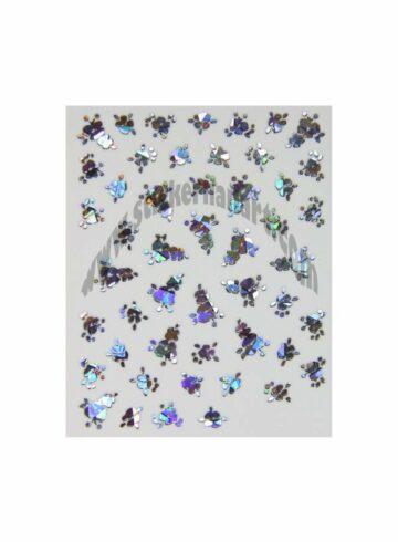 Stickers d'ongles cornet fleurs reflets argent