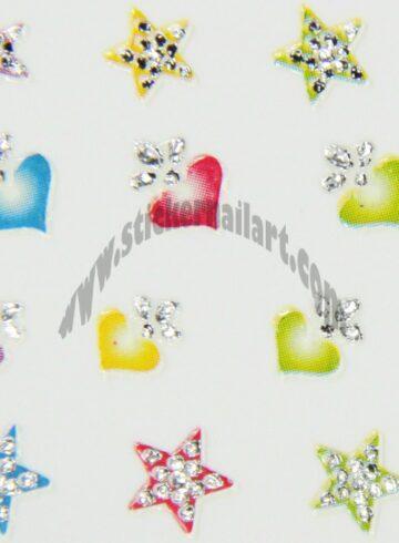 Stickers d'ongles étoiles et cœurs colorés