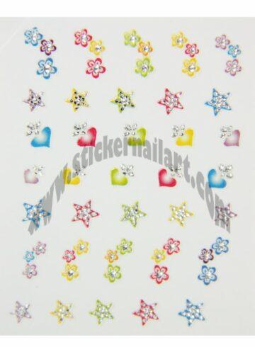 Stickers d'ongles étoiles et cœurs colorés, pêle-mêle étoiles et cœurs colorés