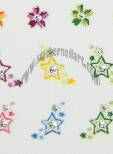 Stickers d'ongles étoiles et fleurs colorés