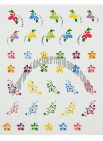 Stickers d'ongles étoiles et fleurs colorés, pêle-mêle étoiles et fleurs colorées