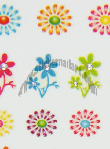 Stickers d'ongles fleurs marguerites colorés