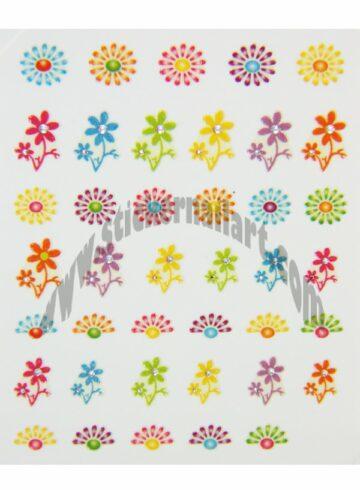 Stickers d'ongles fleurs marguerites colorés, pêle-mêle fleurs marguerites colorés
