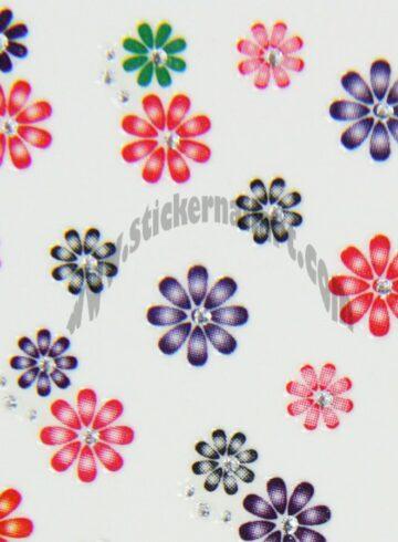 Stickers d'ongles mélange fleurs colorées