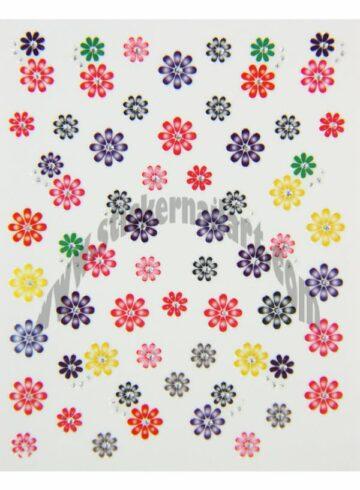 Stickers d'ongles mélange fleurs colorées, pêle-mêle mélange fleurs colorées