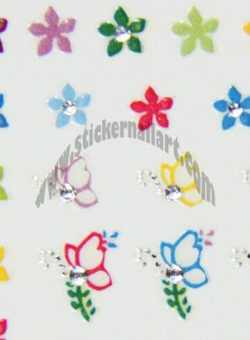 Stickers d'ongles papillons brillants colorés
