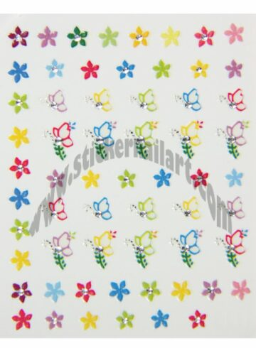 Stickers d'ongles Stickers papillons brillants colorés, pêle-mêle Stickers papillons brillants colorés