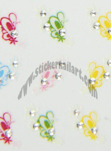Stickers d'ongles papillons fleurs colorés
