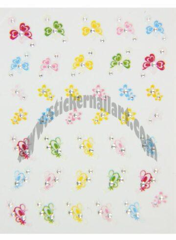 Stickers d'ongles papillons fleurs colorés, pêle-mêle papillons fleurs colorés
